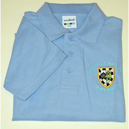 Gonville and Caius College Polo Shirt Light Blue